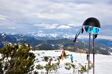 Alps and ski equipment