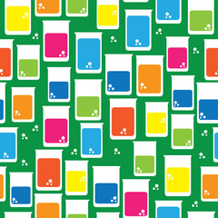 icons juice in glass of seamless pattern