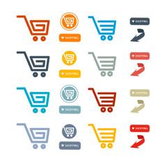 Shopping Cart, Basket, Web Symbols, Icons Set