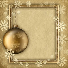 Christmas background - bauble and snowflakes