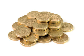 Pile of British pound coins