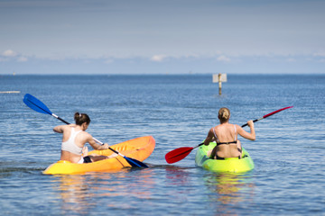 Two people on sea kayak