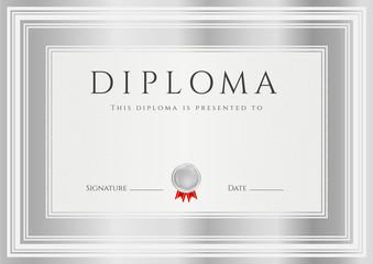 Certificate / Diploma template. Silver frame, medal, award