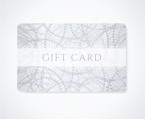 Gift card, discount card, coupon, ticket. Silver flora pattern