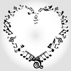 ноты сердце музыка
