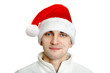 man in santa hat on white background
