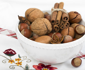 Anise, cinnamon and variety of nuts.