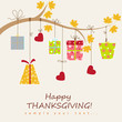 Thanksgiving card  with box gift. Vector illustration