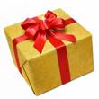 Goldene Geschenkpackung mit roter Schleife