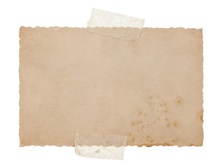old grungy paper sheet with tape isolated on white
