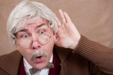 Old Man Listens To Saucy Gossip