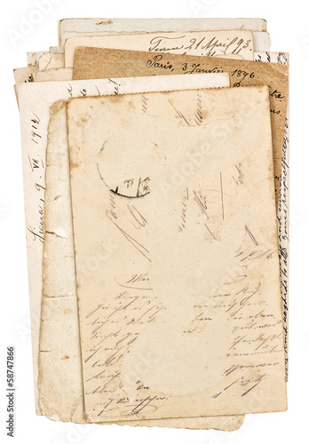 old grungy paper sheets isolated on white