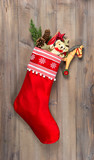 christmas stocking with nostalgic vintage toys decoration