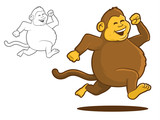 Fat Chimpanzee Running Cartoon