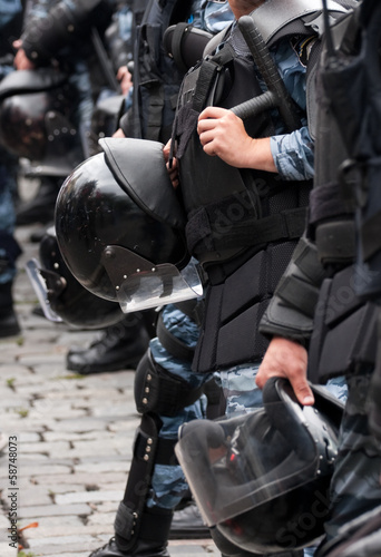 Helmet on a police officer