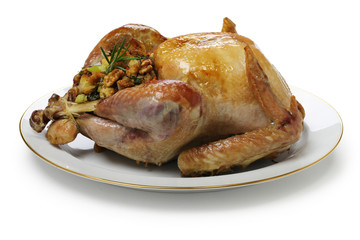 roast turkey with stuffing, thanksgiving dinner