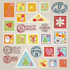 Cute Christmas postage stamps vector  elements