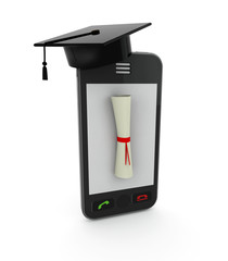 smartphone with Graduation Cap and Diploma