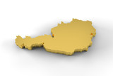 Austria map 3D gold with clipping path