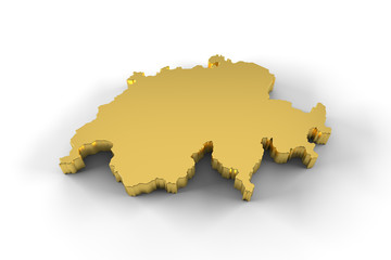 Switzerland map 3D gold with clipping path