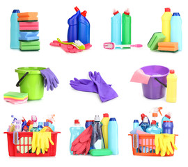 Cleaning items isolated on white