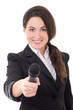 young beautiful female reporter with microphone isolated on whit