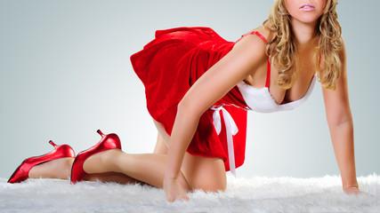 weihnachtsfrau auf dem Fell