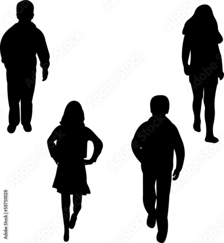 Children models, girls and boys silhouette