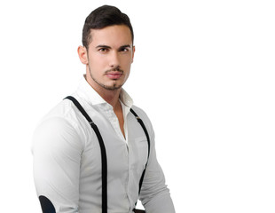 Elegant young man with white shirt and suspenders