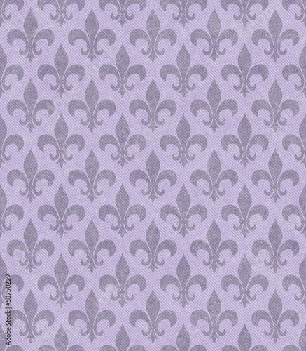 Purple Fleur De Lis Textured Fabric Background