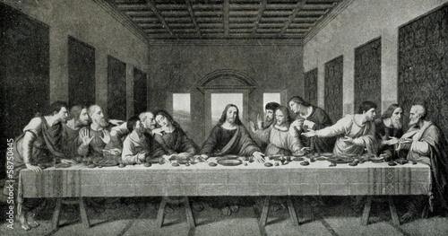 Leinwanddruck Bild The Last Supper (Leonardo da Vinci; 1498)