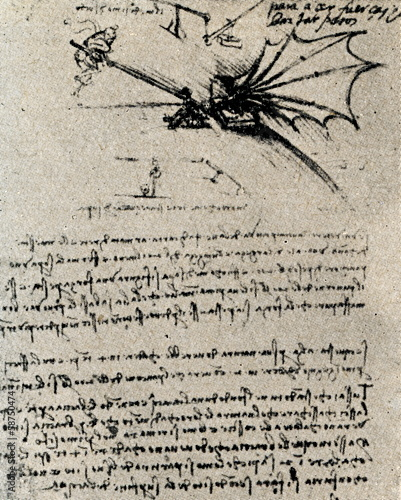 Leinwanddruck Bild Flying device by Leonardo da Vinci