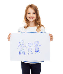 smiling little child holding picture of family