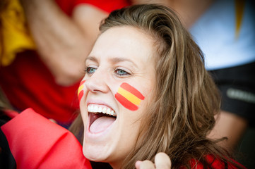 Spanish young supporter at the stadium