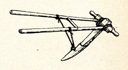 Wooden plough for land clearing