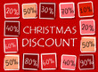 christmas discount and percentages in squares - retro red label