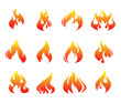 Fire flames , set icons, vector illustration
