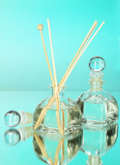 Aromatic sticks for home on blue background