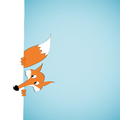 Peeping cartoon fox