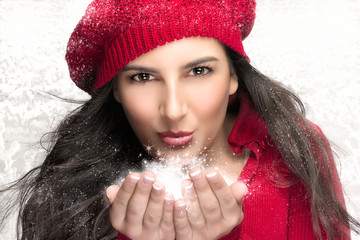 Beauty Christmas Girl Blowing Snow