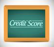 credit score written on a blackboard.