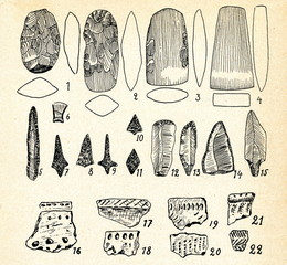 Neolithic flint implements and pottery (Vilnius, Lithuania)