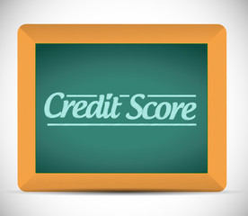 credit score written on a blackboard.