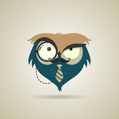 Cute little blue and grey cartoon hipster owl