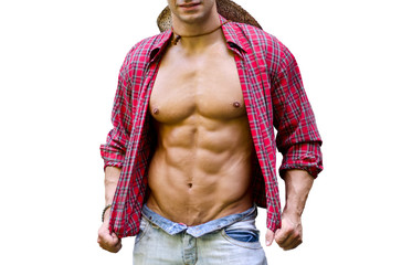 Muscular chest of male bodybuilder with open shirt