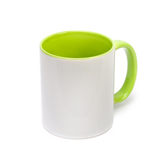 White empty cup with colored bottom isolated