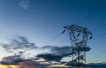 Hig voltage at sunset