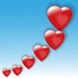 объемные сердца на синем фоне
