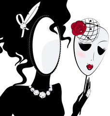 lady-mirror with mask
