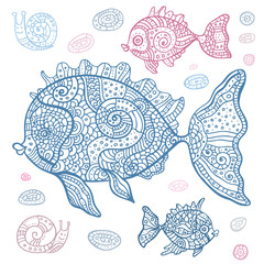 Sea Fish set. Hand drawn vector illustration.